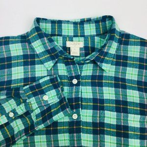 J Crew Womens Button Down Flannel Pullover Shirt S